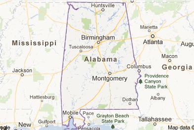 map of Alabama and surrounding states