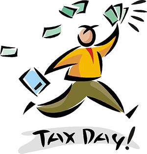 drawing of a person on tax day