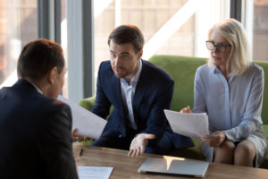 discussing finance with bankruptcy professional